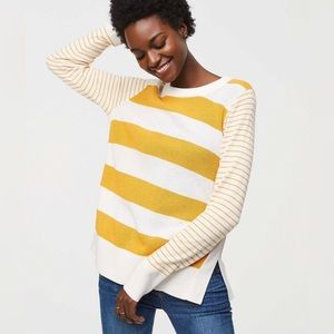 Loft Mixed Stripe Boatneck Tunic Sweater